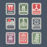 Collection of postage stamps, cities of the world, vector Illustrations, city stamps with symbols Royalty Free Stock Photo