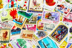 Collection of Postal Stamps. Random collection of postal stamps (1920-2000s Royalty Free Stock Photos