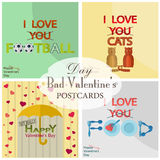 Collection of postcards for bad Valentine's day Stock Photo