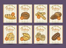Collection of posters with various bakery products. Vector illustration for your design Royalty Free Stock Photography