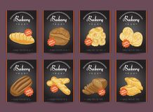 Collection of posters with various bakery products. Vector illustration for your design Stock Photos