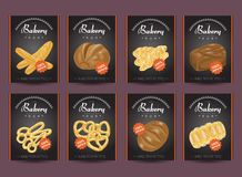 Collection of posters with various bakery products. Vector illustration for your design Stock Images