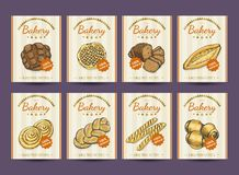 Collection of posters with various bakery products. Vector illustration for your design Royalty Free Stock Image