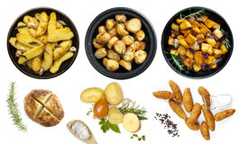 Collection of Potato Dishes Isolated Top View. Collection of potato dishes, isolated on white.  Top View.  Includes raw and cooked Royalty Free Stock Photos