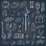 Collection pour jouer un magicien Magicien de choses : magicien, chapeau, livre magique, rouleau, breuvage magique, balai, boule  illustration stock