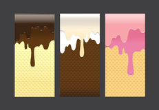 Collection of pouring sweet cream abstract background vector ill Stock Photos