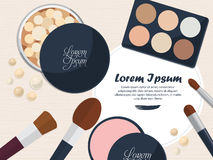 Collection of powders and brushes on the table with space for your advertising. Vector Royalty Free Stock Photography