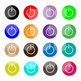Collection of 16 Power or Shut Down Icons Stock Photos