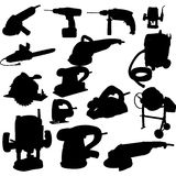 Collection of power tool   Royalty Free Stock Images