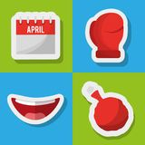Collection prank tricks fools day celebration. Vector illustration Royalty Free Stock Photos