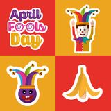 Collection prank tricks fools day celebration. Vector illustration Royalty Free Stock Photography