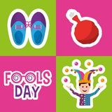 Collection prank tricks fools day celebration. Vector illustration Stock Images