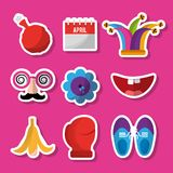 Collection prank tricks fools day celebration. Vector illustration Royalty Free Stock Photo
