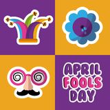 Collection prank tricks fools day celebration. Vector illustration Stock Image