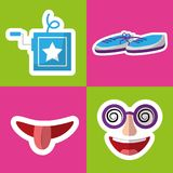 Collection prank tricks fools day celebration. Vector illustration Stock Photos