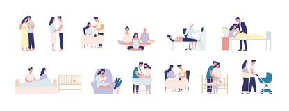 Collection of pregnancy and maternity scenes. Bundle of pregnant woman performing daily activities, visiting physician royalty free illustration