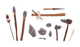 Collection of prehistoric stone tools. Bundle of rock weapons and equipment used by archaic human or caveman for hunting. Fire lighting, manual work. Flat Royalty Free Stock Photo
