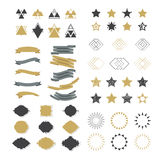 Collection of premium design elements. Set of ribbons, starburst Stock Photos