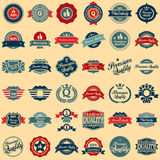Collection of Premium Quality and Guarantee Labels. Retro vintage style design. 100% Premium Quality Guarantee vector sign set Stock Photo