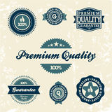 Collection of Premium Quality and Guarantee Labels. Retro vintage style design. 100% Premium Quality Guarantee vector sign set Stock Photos