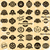 Collection of Premium Quality and Guarantee Labels. Retro vintage style design. 100% Premium Quality Guarantee vector sign set royalty free illustration
