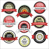 Collection of Premium Quality and Guarantee Labels Stock Photography
