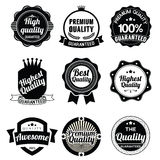 Collection of Premium Quality and Guarantee Labels  retro Stock Images