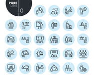 Collection of premium quality strategy, planning and teamwork line icons Stock Images