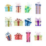 Collection of present boxes Royalty Free Stock Images