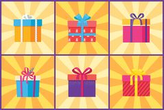 Collection of Present Packages Surprises Vector. Illustrations. Gift boxes in decorative wrapping with color ribbons and bows isolated on rays Stock Photography