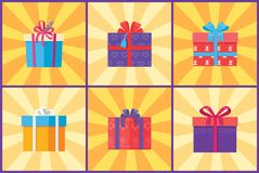 Collection of Present Packages Surprises Vector. Illustrations. Gift boxes in decorative wrapping with color ribbons and bows isolated on rays Royalty Free Stock Photography