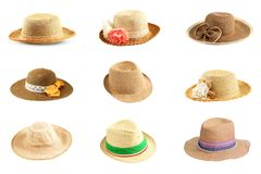 Collection of pretty straw hat isolated on white. Background stock image