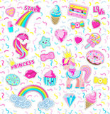 Collection Princess Icons. Rainbow. Star. Sweet Stock Photos