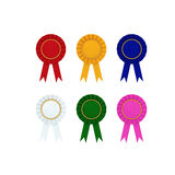 Collection of prize label with ribbon isolated on white with clipping path Royalty Free Stock Photos