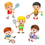 The collection of the profesional tennis field with the right and different posing stock illustration