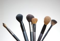 Collection of professional make up artist brushes Royalty Free Stock Photos