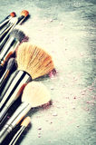 Collection of professional makeup brushes Royalty Free Stock Image