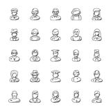 Collection of Professions Doodle Icons royalty free illustration
