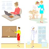 Collection. Professions for a lady. Woman teacher, nurse, secretary, waitress. Vector illustration set stock illustration