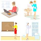 Collection. Professions for a lady. Woman teacher, nurse, secretary, waitress. Vector illustration set. Collection. Professions for a lady. Woman teacher, nurse stock illustration