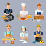 Collection professions set mechanic cook carpenter builder Stock Images
