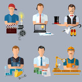 Collection professions set producer journalist actor plumber Stock Image