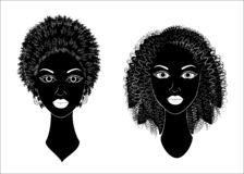 Collection. Profile of a head of sweet ladies. African American girls show hairstyles for long and medium hair. Silhouettes of stock illustration