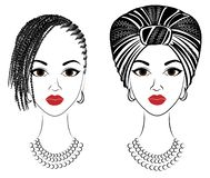 Collection.Profile the head of the sweet lady. African-American girl with a beautiful hairdo. The lady wears a turban, a national stock illustration