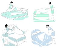 Collection. Profile of a sweet lady. The girl is making the bed in the room. A woman is a good wife and a neat housewife. Vector stock illustration