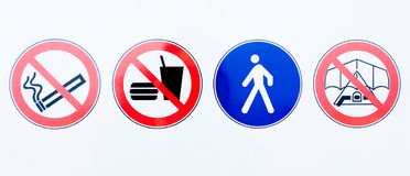 Collection of prohibition signs Royalty Free Stock Images