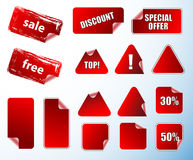 Peeled corner price promotion promotional tags red empty blank label sticker labels stickers special offer sale free discount icon Stock Photography