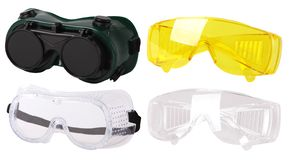 Collection of  protective spectacles Safety glasses. Plastic Protective Work Glasses stock image