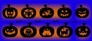 Collection of pumpkins for the holiday of Halloween, silhouette vector illustration
