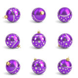 Collection of purple christmas balls. White . 3D render Royalty Free Stock Image